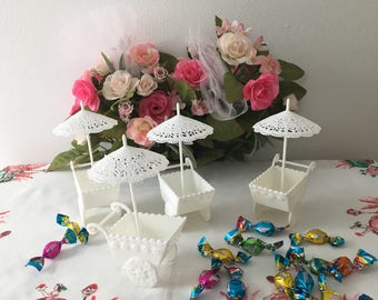 Vintage Hallmark Flower Cart Candy Cups with Parasols
