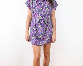 Vintage floral tunic, mini dress, summer dress, bohemian, hippie, small, medium size, floral blouse, purple dress, pink dress