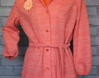 Vintage 1970's Long Sleeve Salmon Pink Blouse