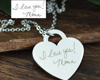 Actual Handwriting Necklace, Custom Handwriting Jewelry, Engraved Heart Necklace, Memorial Handwritten Necklace, Signature Necklace
