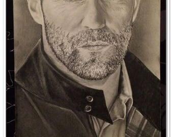 graphite pencil portrait of Jason Statham