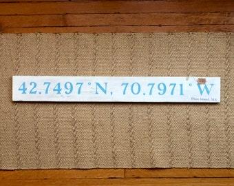 Plum Island , MA Latitude/Longitude Navigational Handpainted sign