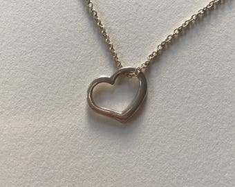Vintage Petite Open Heart 925 Sterling Silver Pendant Necklace