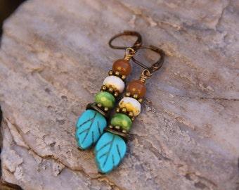 Turquoise Leaf and Happy Little Berries Earrings, Czech Glass Earrings