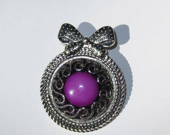 Purple Button Brooch, Pin, Purple Cabochon, Brooch Pin, Bow Brooch, Jewelry, Button Jewelry