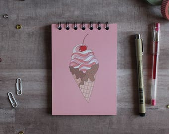 NOTEPAD. A6 Cute Ice Cream Cone Spiral Notepad. Soft 300 gsm Card Cover. 120 blank pages. Matte lamination pleasant to the touch.