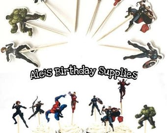 24 Pc The Avengers Cupcake Toppers Picks Double Sided Party Supplies