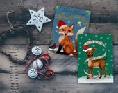 Merry Christmas card, Christmas card set, merry Christmas deer, Holiday card set, Christmas deer, Christmas fox, fox and deer, fox card set