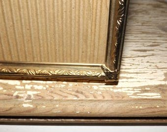 Large gold tone ornate picture frame,10 x 13,glass front,photo frame,easel back,wall frame,table top,art deco frame,felt back