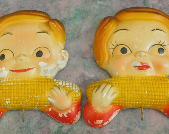 Vintage Campbell's Girl Boy Eating Corn, Miller Studio Chalkware, Towel Hook Hanger Holder, Children, Country Charm, Farmhouse Style, Rustic