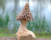 Hand carved morel mushroo...