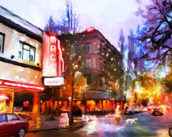 McMinnville 3rd street, McMinnville Oregon, Northwest Food and Gift, McMenamins, Hotel Oregon painting, McMinnville art print