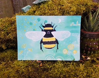 Bee art print - Insect painting - Bumblebee wall art - Alchemy air wall art - Bee Illustration - Nature art - Insect decor - Entomology