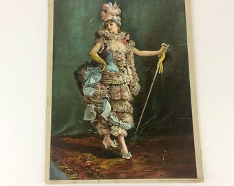 Chromalithograph Froufrou Fancy Woman Print from 1892 Old 1800s Fashion Art Perfect for The Wall from Hawk Vintage Clothing