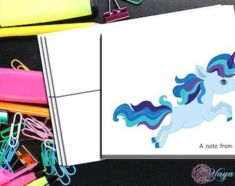Blue unicorn Note cards / Custom girl unicorn Stationery / Girl Stationery Set / Girl Thank You Cards / Set of 12 Kid Notes