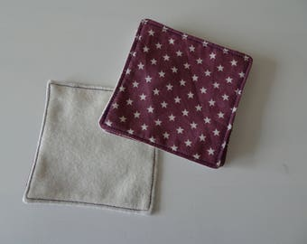 set of 5 wipes washable special sensitive skin and organic cotton fleece purple