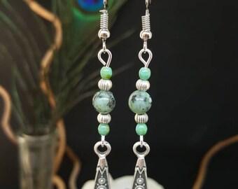 Drop Bohemian Silver & Turquoise - boho - earrings - Celtic - ethnic - gemstones - green - silver - gypsy - hippie