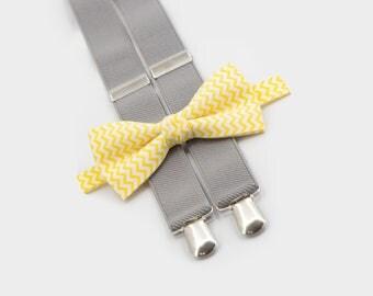 Suspenders Bow Tie Yellow Chevron Bowtie & Light Gray Suspenders Boys Birthday Outfit