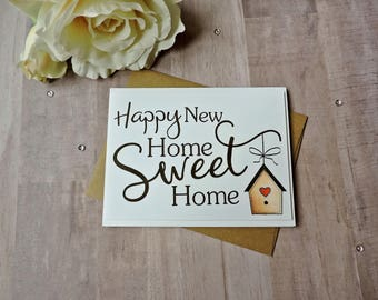 Happy New Home Sweet Home New Home Card- Welcome Home Card- New House- Moving Card- With Envelope- A2 Card- Handmade Card