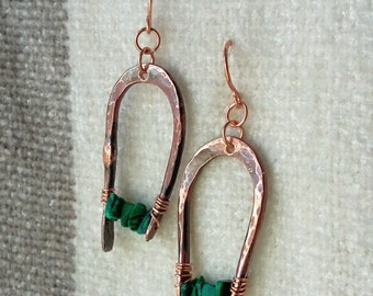 Antiqued hammered  copper horseshoe earrings with green malachite beads for St. Patrick's Day!