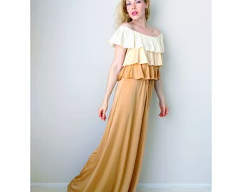 Vintage off the shoulder dress | ruffle dress tiered maxi dress ombre dress boho 1970's dress cream tan brown | Vicky Vaughn | size small