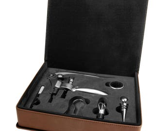 Custom Engraved  Leatherette 5-Piece Wine Tool Gift Set, Dark Brown