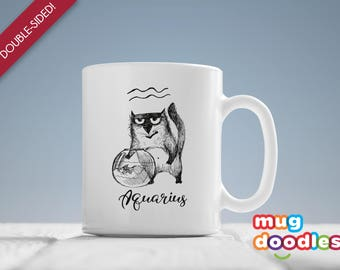 Aquarius Mug, Aquarius Zodiac Sign, Aquarius Cat, Astrology Mug, Aquarius Gifts, Aquarius ,  Large, Coffee, Mug, Gift, Aquarius Gift, MD722