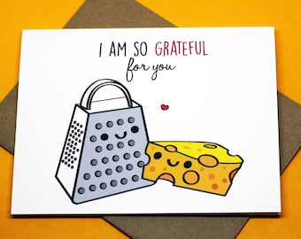 I Am So Grateful For You Punny Cute Friendship Romance Valentine's Day Just Because Greeting Card