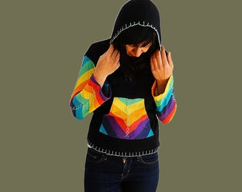 Cropped hoodie sweater with pockets knitted rainbow crop top with hood cotton knit sweater Hippie vintage size small US 8