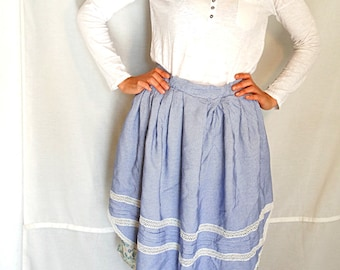 Blue gingham checkered apron with lace sexy half apron pleated kitchen maid baking retro cotton