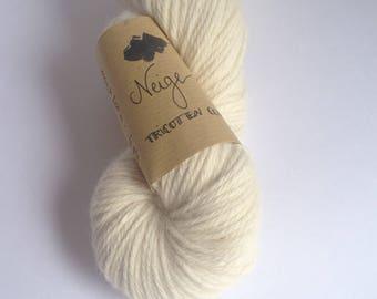 Snow - Skein of yarn hand dyed Alpaca