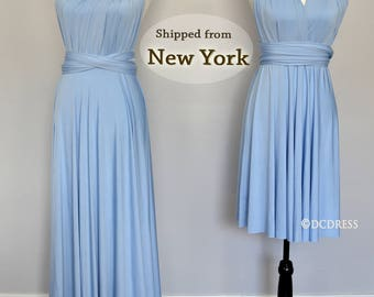 Baby Blue infinity bridesmaid dress, convertible dresses, party dress, twist wrap dress, sleeveless dress, Evening Dress