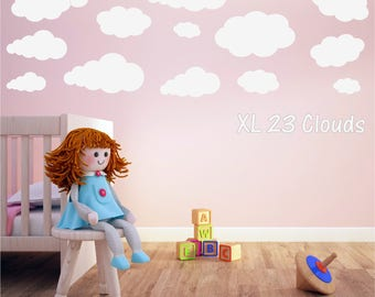 CLOUDS x 23 Girls Boys Childrens Bedroom Nursery Babies Matt Vinyl Wall Art Sticker Decal Transfer *20 colours*