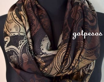Pashmina Snood, infinity Scarf, loop scarf, circle scarf, Paisley Pashmina Shawl, infinity pashmina, black and orange pashmina scarf