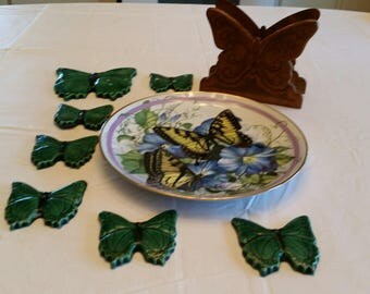 vintage 9 piece butterfly collection - collector plate - wooden napkin holder - 7 ceramic butterflies from wind chimes - yard art patio deck