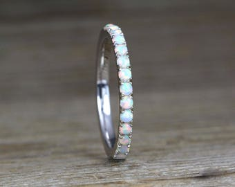 White Opal Eternity Band, Opal Ring, Eternity 2 mm Wedding Band, Thin Opal Wedding Ring, Opal Wedding Band, Opal Stacking Ring, Promise Ring