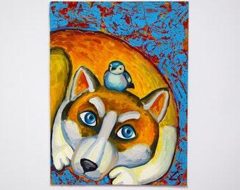 Small painting oil painting dog Small paintings on canvas original art oil paintings animals Orange dog paintings original zora art oil