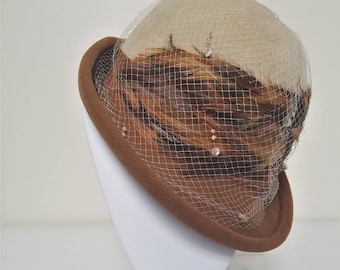 Vintage Mister T Fedora w/ Netting and Feathers