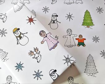 Color Me Holiday Wrapping Paper, Snow Man, Gingerbread, Reindeer, Snowflake, Evergreen, Coloring, 20x29 inches each, ships rolled in tube