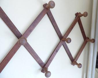 Clothes hanger - Coat rack - Vintage wall hanger - Hat rack - Wooden wall hanger - Accordion wall hanger - Folding peg rack - Old hanger