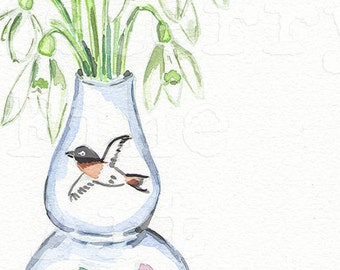 Porcelain vase collection Tamara Jare signed giclee prints carnation flower in vase watercolor snowdrops painting home decor wall art white