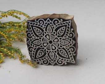 Square Indian batik wood, print stamp, wood block