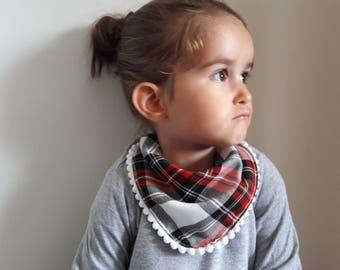 Baby Bib with pompom trim - tartan dribble bib - check Baby Bib - modern baby girl bib - fashionable baby bib - baby drool bib - bamboo bib