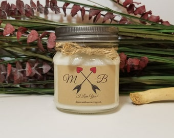 Engagement Gift for Couple - Romantic Gifts - Anniversary Candles - 8oz Soy Candle - Personalized Gifts - Boyfriend Gift - Anniversary Gift