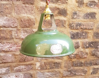 1930s 9 inch Coolicon industrial pendant lights: rewired