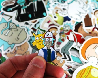 "Rick and Morty x Pokemon soft enamel lapel pin 1.5"" + Rick and Morty Sticker pack 35 pcs"
