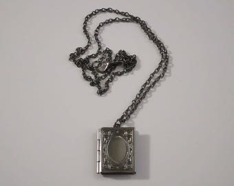 SALE! Book Locket / BOOK LOVER / Shiny Gunmetal Locket Necklace