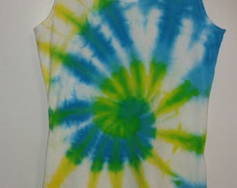 Hand dyed swirl / spiral tie dye woman's extra length tank top