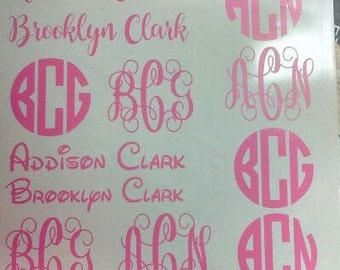 Circle Font  Decal/ Vine Font Decal/ Decal/ Initial Monogram/ Monogram/ Back To School/Yeti Decal/College Decal/School Decal