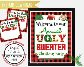 Ugly Sweater Christmas Party Welcome Sign, Welcome to Our Annual Ugly Sweater Christmas Party, Printable Vote for the ugliest Sweater Ballot